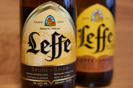 SARANSK, RUSSIA - MARCH 22, 2020: Leffe beer on wooden background.