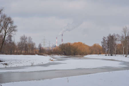 Insar river in Saransk, thermal power plant visible in the background.