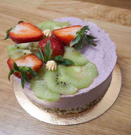 Homemade cake on the wooden table. Stockfoto