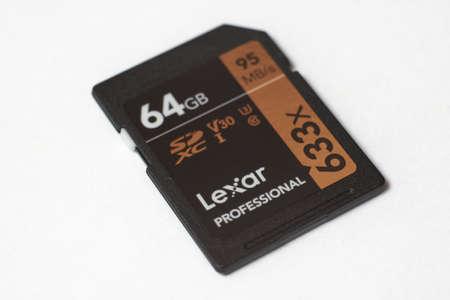SARANSK, RUSSIA - JANUARY 17, 2020: Lexar Professional 633x 64GB SDXC card on white background.