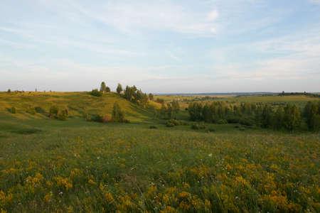 Hills in Mordovia, Russia. Volga Uplands landscape.