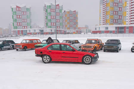Saransk, Russia - February 13, 2021: The BMW 3 Series (E36) on snowy road.