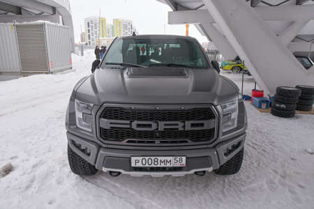 Saransk, Russia - February 13, 2021: Ford F-150 Raptor on the parking. Redactioneel