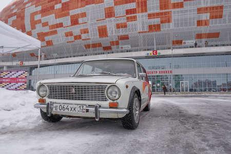 Saransk, Russia - February 13, 2021: The old soviet estate car VAZ-2102 Zhiguli on the parking near Mordovia Arena stadium.