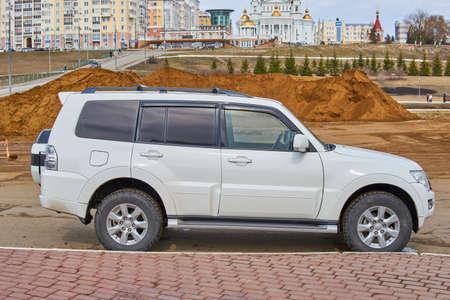 Saransk, Russia - April 11, 2021: The Mitsubishi Pajero on city street.