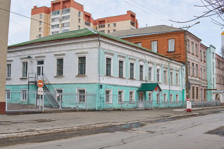 Saransk, Russia - April 11, 2021: One of the buildings of the Ogarev Mordovia State University. At the beginning of the 20th century, the Saransk real school was located there. Editorial