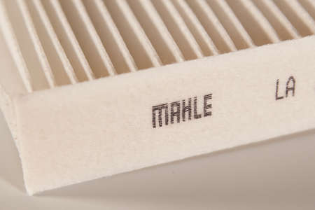 SARANSK, RUSSIA - MARCH 26, 2021: The Mahle GmbH logo on the cabin filter housing.