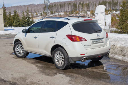 Ramsay village, Penza Oblast, Russia - April 04, 2021: The Nissan Murano on the parking.
