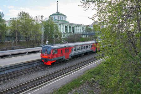 Murmansk, Russia - June 04, 2021: Suburban train ED9M at the Murmansk station.