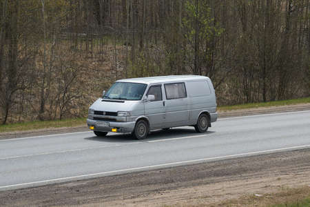 Ruzayevsky District, Mordovia, Russia - May 08, 2021: The Volkswagen Transporter T4 on the intercity road.