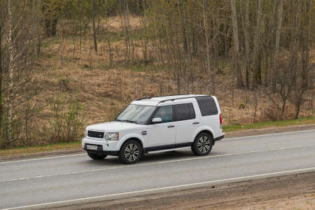 Ruzayevsky District, Mordovia, Russia - May 08, 2021: The Land Rover Discovery 4 on the intercity road.