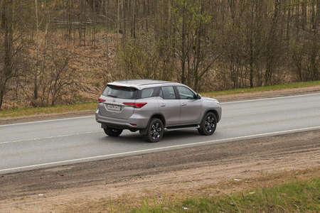 Ruzayevsky District, Mordovia, Russia - May 08, 2021: The Toyota Fortuner on the intercity road. Editorial