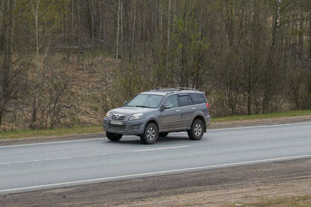 Ruzayevsky District, Mordovia, Russia - May 08, 2021: The Great Wall Motors Haval H3 on the intercity road.