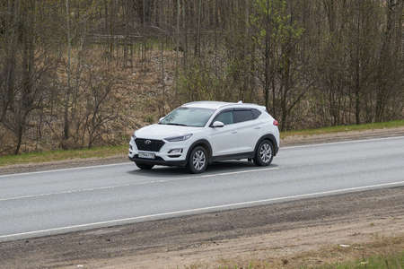 Ruzayevsky District, Mordovia, Russia - May 08, 2021: The Hyundai Tucson on the intercity road. Editorial