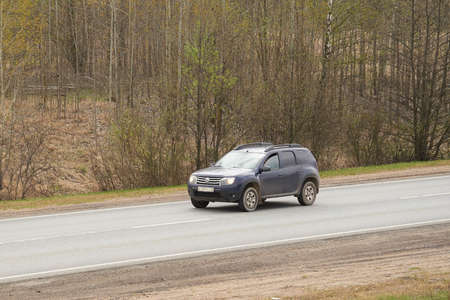 Ruzayevsky District, Mordovia, Russia - May 08, 2021: The Renault Duster on the intercity road.