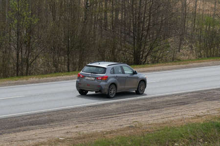 Ruzayevsky District, Mordovia, Russia - May 08, 2021: The Mitsubishi Asx on the intercity road. Editorial