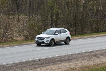 Ruzayevsky District, Mordovia, Russia - May 08, 2021: The Hyundai Creta on the intercity road. Editorial