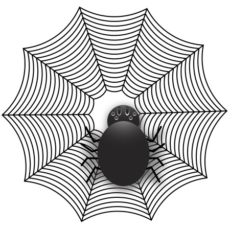 Spider on a spider web Ilustração