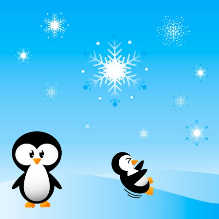 Penguins Playing in the snow Vector