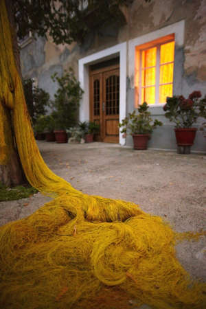 floaters: Yellow fishing net laying on ground, yellow window, sharp foreground, blurry background  Stock Photo