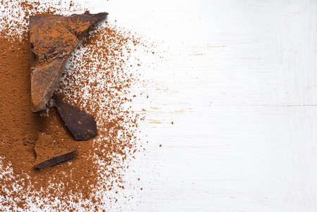 solids: Chocolate ingredients: cocoa solids and cocoa powder. selective focus