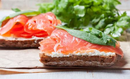 chum: Sandwich with salted salmon and cream cheese,    selective focus