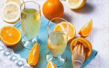 liqueur: Homemade liqueur oranges. Selective focus