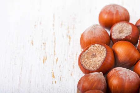 cobnut: Hazelnuts, filbert on old wooden background, selective focus