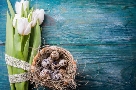 festal: easter composition consists of a white tulips, quail eggs. Selective focus
