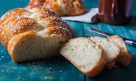challah: Challah bread with sesame seeds. Selective focus