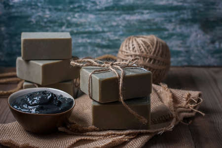 oddity: Handmade natural soap with Dead sea mud. Selective focus Stock Photo