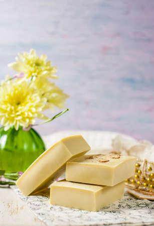natural handmade soap. Selective focus