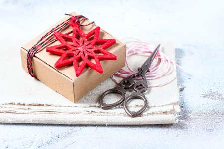 Christmas gift box and christmas decorations. Selective focus