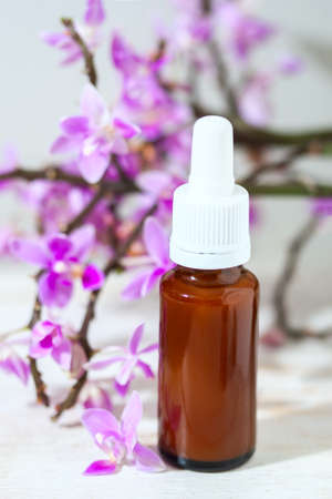 revitalizing: spa setting with cosmetic cream, gel and purple orchid on white wooden table background. Selective focus