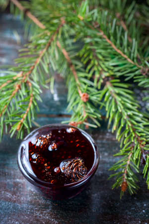Home-made Jam made from pine cones, for improving immunity. Selective focus.