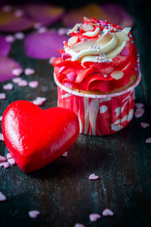 Valentines Day homemade cupcakes with pink icing. Selective focus