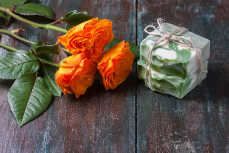 Natural handmade soap with rose. Spa. Stock Photo