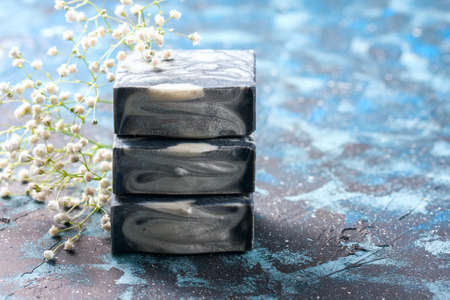 Handmade natural soap with bamboo charcoal. Selective focus