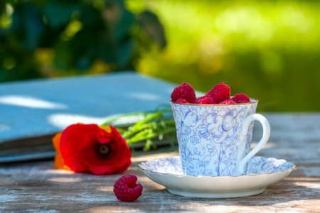 Fresh ripe raspberries and an old porcelain cup with a saucer on a wooden table in the garden. Selective focus Stock Photo