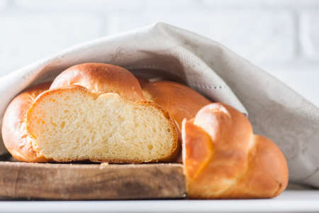 Homemade challah bread, selective focus. Traditional bread.