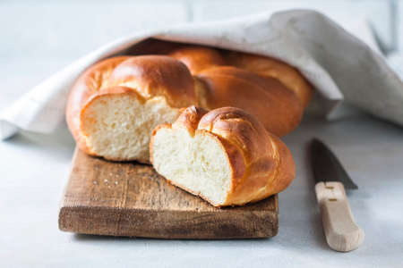 Homemade challah bread, selective focus. Traditional bread Stock Photo