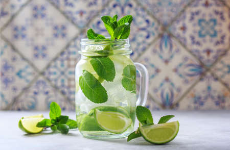 Lemonade with lime and mint, selective focus Stock Photo