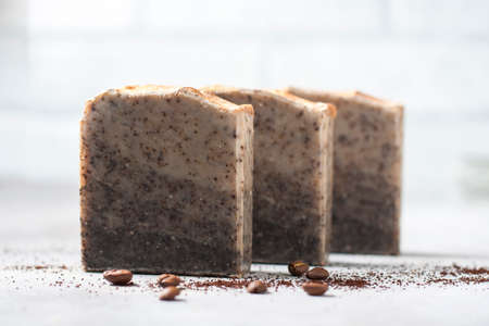 Handmade soap bars with coffee. Organic soap. Spa treatments. Selective focus Standard-Bild