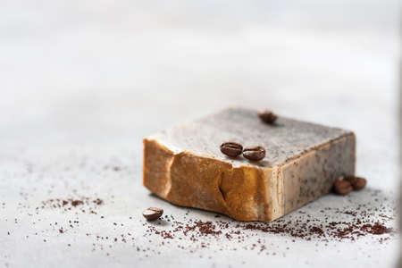 Handmade soap bars with coffee. Organic soap. Spa treatments. Selective focus Stok Fotoğraf