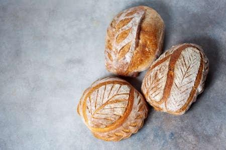 Sourdough bread. Freshly baked organic wheat bread. Selective focus, copy space Zdjęcie Seryjne