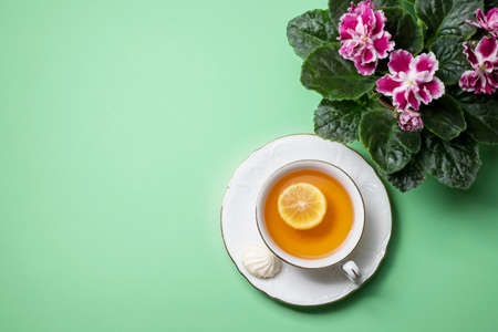 Flowering Saintpaulias, commonly known as African violet and a cup of tea with lemon close-up. Composition for Valentines Day, birthday. Copy spacy, top view. Reklamní fotografie