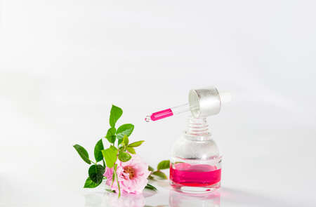 Bottle of rose essential oil and flowers on white background. Massage, aromatherapy and organic cosmetics concept. Selective focus, copy space