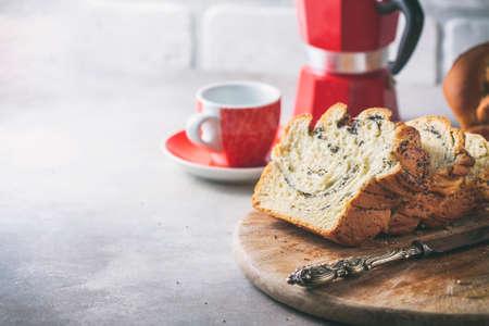Homemade poppy seed braided bread .