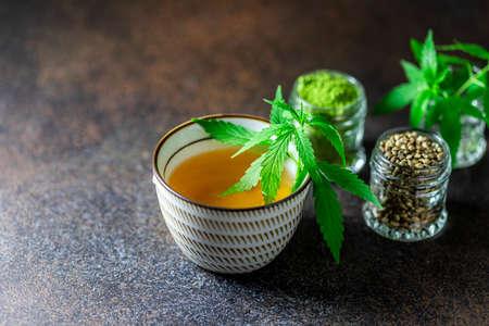 Hemp Tea. Cannabis herbal tea. Healthy lifestyle. Selective focus, copy space. Stock Photo