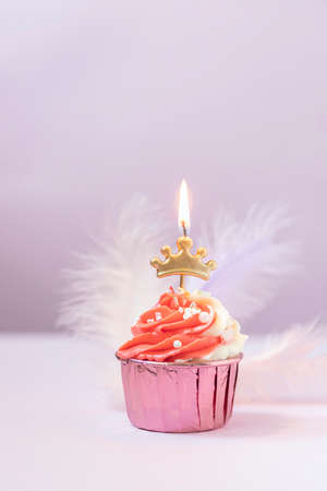 Composition with festive cupcakes with pink cream and a candle on a pink background. Imagens